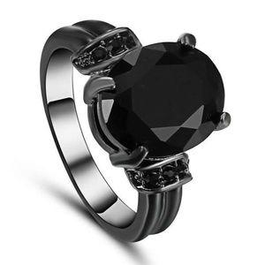 Black Gold Tone Rhinestone Fashion Ring